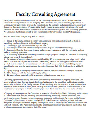 Faculty Consulting Agreement