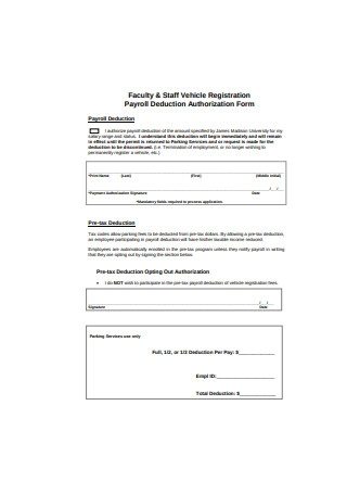 Faculty Payroll Deduction Form