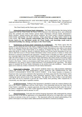 Family Confidentiality Agreement Format