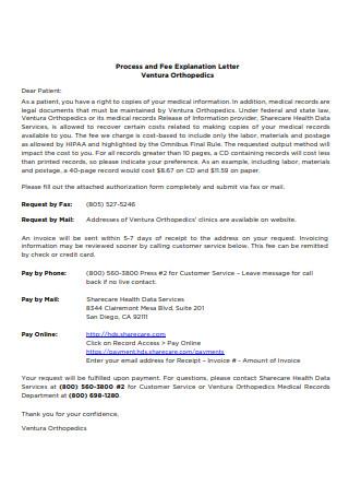 Fee Explanation Letter Sample