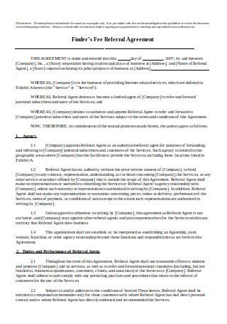 Fee Referral Agreement