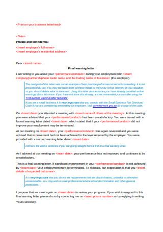 Final Warning Letter Template