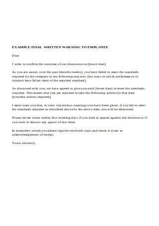 Final Written Warning to Employee