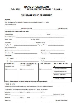 Finance Memorandum of Agreement