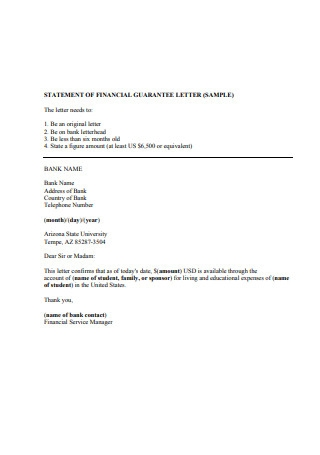 Financial Guarantee Letter