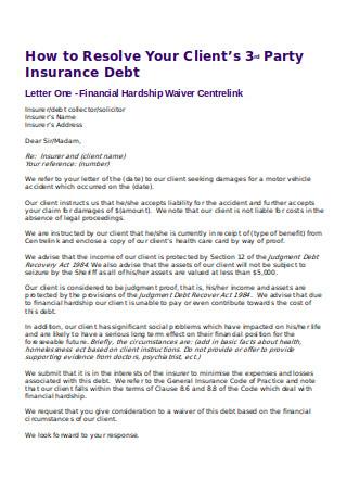 Financial Hardship Waiver Letter