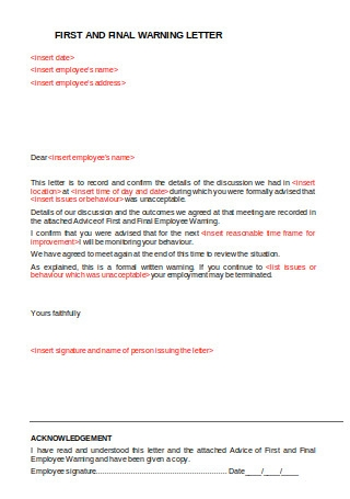 First and Final Employee Warning Letter