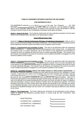 Form of Agreement Between Constructor and Owner