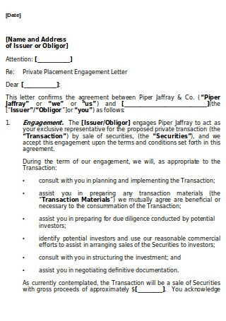Form of Engagement Letter