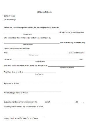 Formal Affidavit of Identity Form