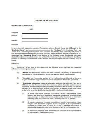 Formal Confidentiality Agreement