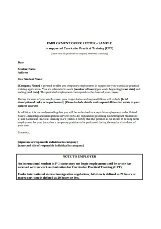 Formal Employment Offer Letter