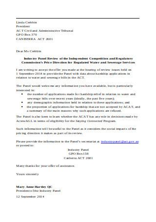 Formal Hardship Letter
