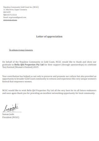 Formal Letter of Appreciation