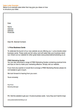 Formal Marketing Sales Manager Letter Example