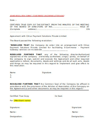 Format of Board Resolution