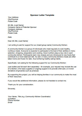 Format of Sponsor Letter Template