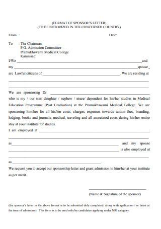 Format of Sponsors Letter