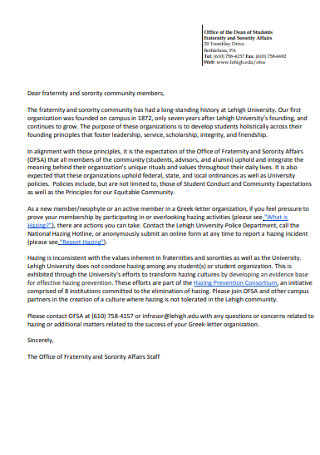 Fraternity Community Members Recommendation Letter