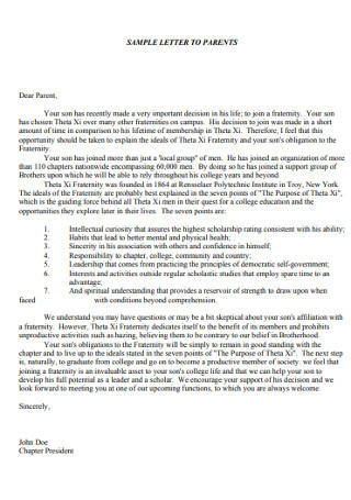 Fraternity Recommendation Letter for Parents