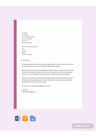 Free Nurse Resignation Letter Template