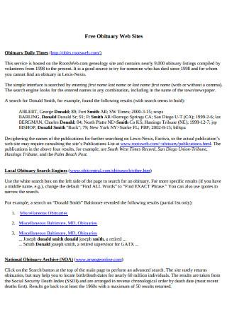 Free Obituary Web Sites