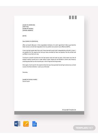 Free School Nurse Resignation Letter