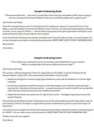 Fundraising Email Letter