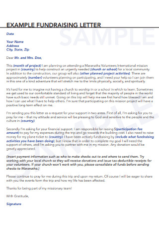Fundraising Letter Example