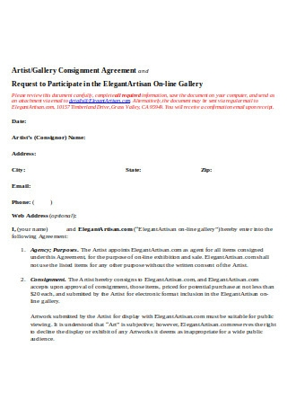 Gallery Consignment Agreement