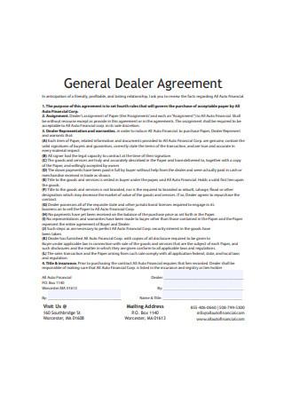General Dealer Agreement