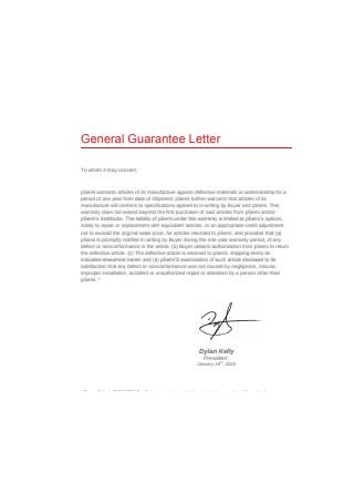 General Guarantee Letter