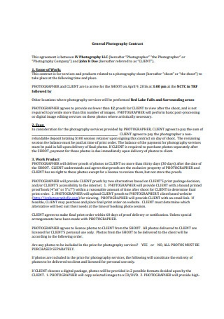 General Photography Contract Example