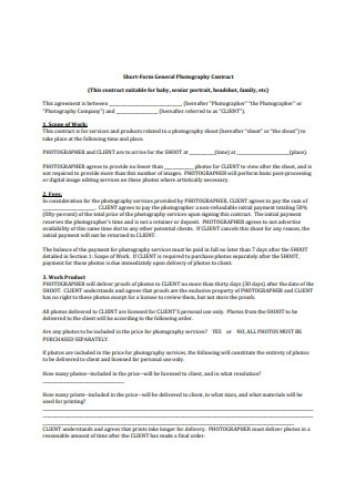 General Photography Contract