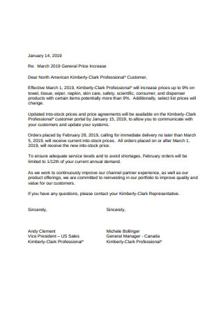 General Price Increase Letter