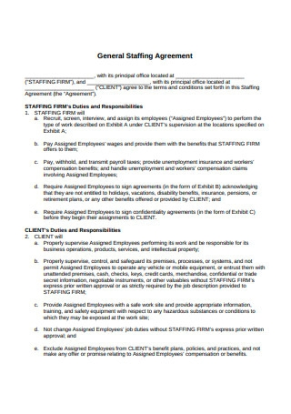 General Staffing Agreement Sample