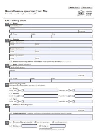 General Tenancy Agreement Form