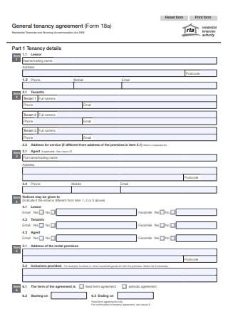 General Tenancy Agreement Form