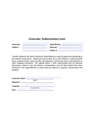 Generator Authorization Letter