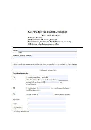 Gift Payroll Deduction Format