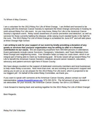 Goods Donation Letter