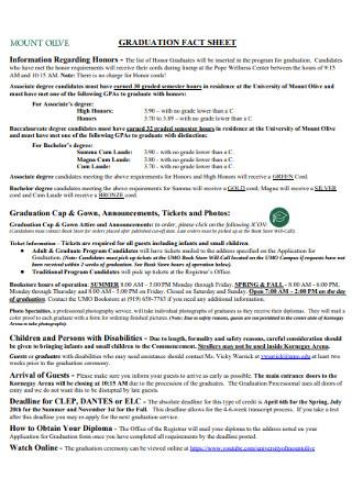 Graduation Fact Sheet