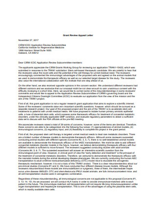 Grant Review Appeal Letter