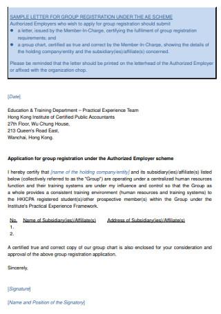 Group Registration Recommendation Letter