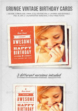 Grunge Vintage Birthday Card