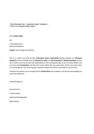 Guarantee Letter Format