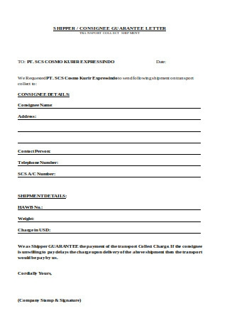Guarantee Letter Sample