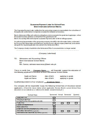 Guarantee Payment Letter