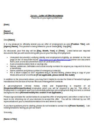 HR Offer Cover Letter