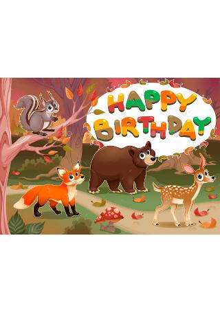 Happy Birthday Card with Wood Animals